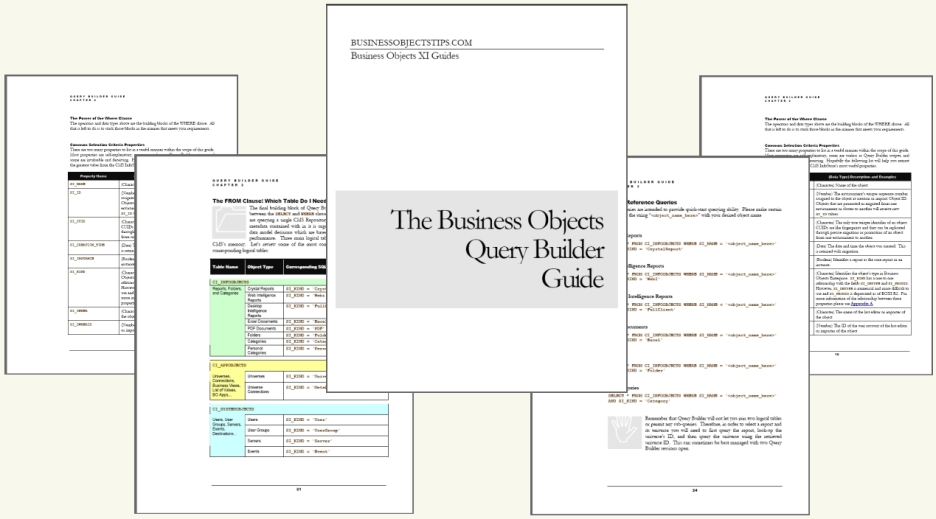 Collage of pages from the Business Objects Query Builder Guide