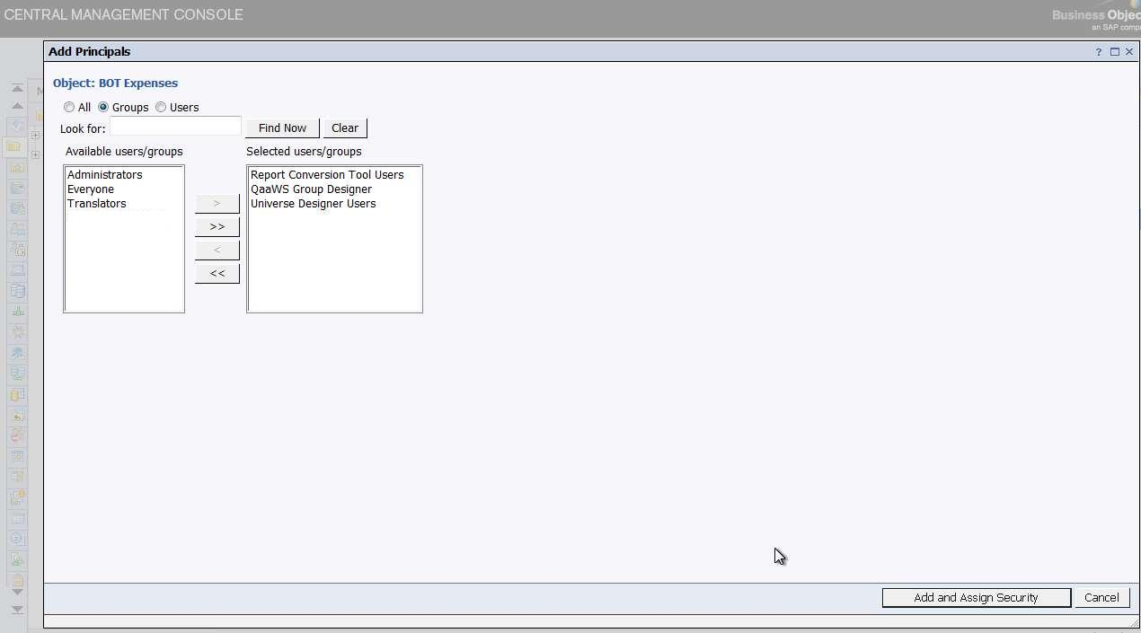 business-objects-xi-3.1-explicitly-denying-access-add-principals