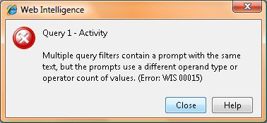 Error received in WebI when using two prompts that vary only in mono/multi settings